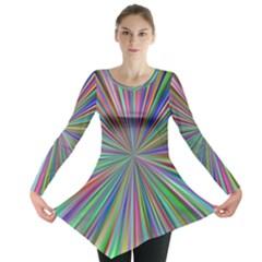 Burst Colors Ray Speed Vortex Long Sleeve Tunic