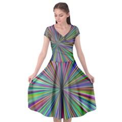 Burst Colors Ray Speed Vortex Cap Sleeve Wrap Front Dress