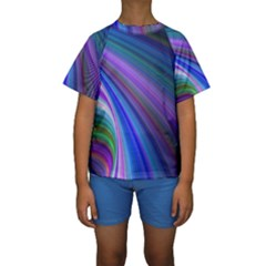 Background Abstract Curves Kids  Short Sleeve Swimwear