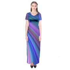 Background Abstract Curves Short Sleeve Maxi Dress