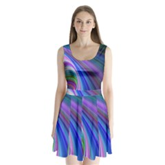 Background Abstract Curves Split Back Mini Dress