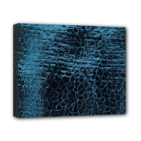 Blue Black Shiny Fabric Pattern Canvas 10  X 8