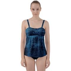 Blue Black Shiny Fabric Pattern Twist Front Tankini Set