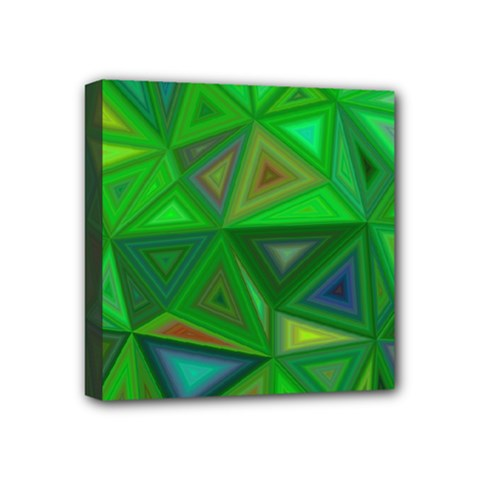 Green Triangle Background Polygon Mini Canvas 4  X 4