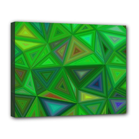 Green Triangle Background Polygon Canvas 14  X 11