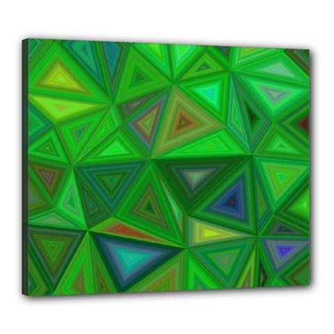Green Triangle Background Polygon Canvas 24  X 20