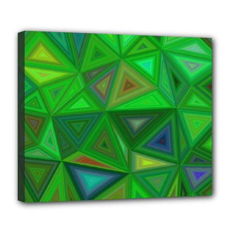 Green Triangle Background Polygon Deluxe Canvas 24  X 20