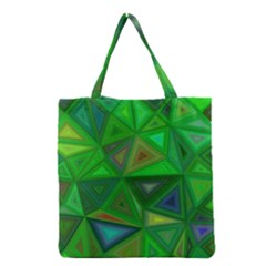 Green Triangle Background Polygon Grocery Tote Bag