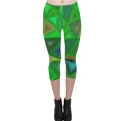 Green Triangle Background Polygon Capri Leggings