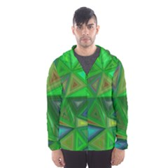 Green Triangle Background Polygon Hooded Wind Breaker (men)