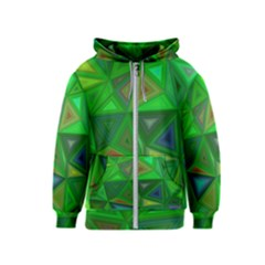 Green Triangle Background Polygon Kids  Zipper Hoodie