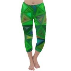 Green Triangle Background Polygon Capri Winter Leggings