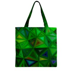 Green Triangle Background Polygon Zipper Grocery Tote Bag