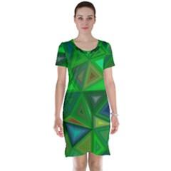 Green Triangle Background Polygon Short Sleeve Nightdress
