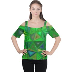 Green Triangle Background Polygon Cutout Shoulder Tee