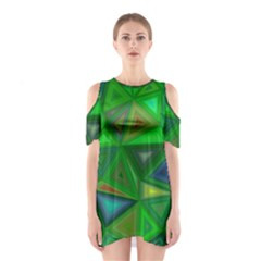 Green Triangle Background Polygon Shoulder Cutout One Piece
