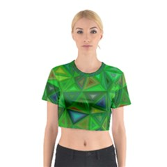 Green Triangle Background Polygon Cotton Crop Top