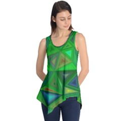 Green Triangle Background Polygon Sleeveless Tunic