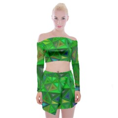 Green Triangle Background Polygon Off Shoulder Top With Mini Skirt Set