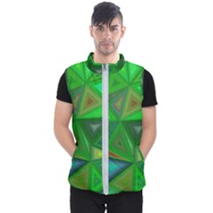Green Triangle Background Polygon Men s Puffer Vest