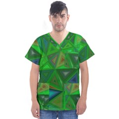 Green Triangle Background Polygon Men s V Neck Scrub Top