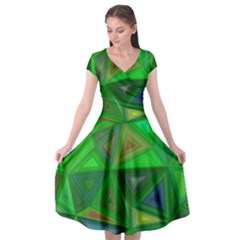 Green Triangle Background Polygon Cap Sleeve Wrap Front Dress