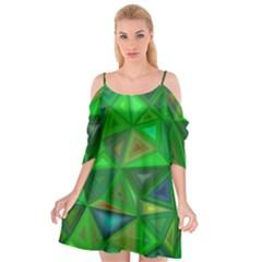 Green Triangle Background Polygon Cutout Spaghetti Strap Chiffon Dress