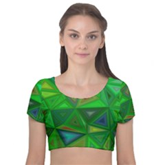 Green Triangle Background Polygon Velvet Short Sleeve Crop Top