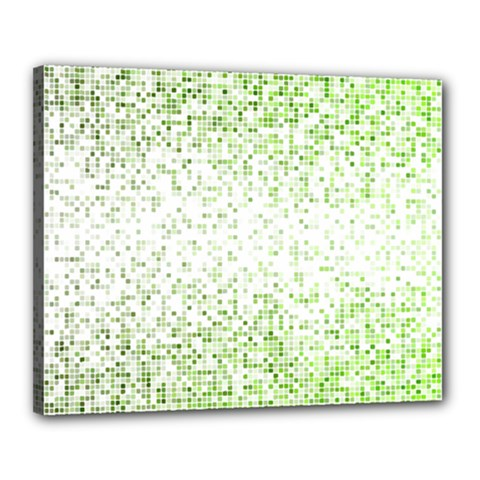 Green Square Background Color Mosaic Canvas 20  X 16
