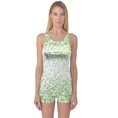 Green Square Background Color Mosaic One Piece Boyleg Swimsuit