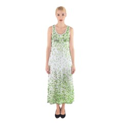 Green Square Background Color Mosaic Sleeveless Maxi Dress