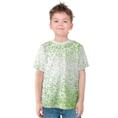 Green Square Background Color Mosaic Kids  Cotton Tee