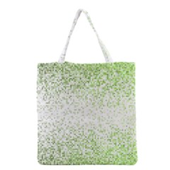 Green Square Background Color Mosaic Grocery Tote Bag