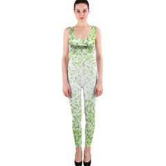 Green Square Background Color Mosaic Onepiece Catsuit