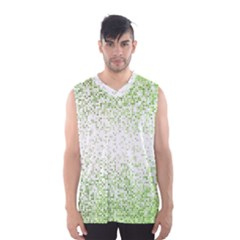 Green Square Background Color Mosaic Men s Basketball Tank Top