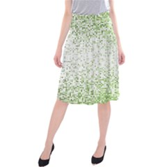 Green Square Background Color Mosaic Midi Beach Skirt