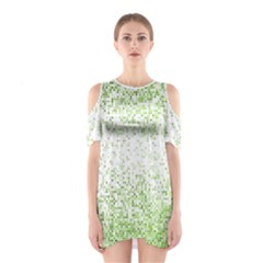 Green Square Background Color Mosaic Shoulder Cutout One Piece