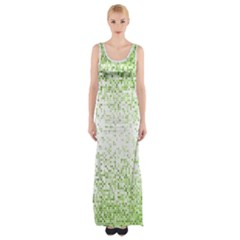 Green Square Background Color Mosaic Maxi Thigh Split Dress