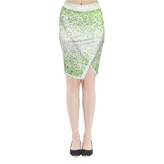 Green Square Background Color Mosaic Midi Wrap Pencil Skirt