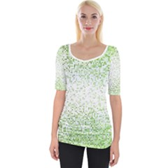 Green Square Background Color Mosaic Wide Neckline Tee