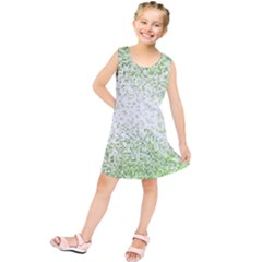 Green Square Background Color Mosaic Kids  Tunic Dress