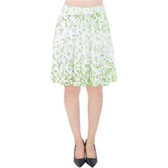 Green Square Background Color Mosaic Velvet High Waist Skirt