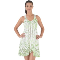 Green Square Background Color Mosaic Show Some Back Chiffon Dress