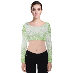 Green Square Background Color Mosaic Velvet Long Sleeve Crop Top