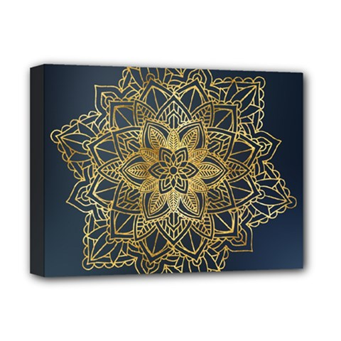 Gold Mandala Floral Ornament Ethnic Deluxe Canvas 16  X 12