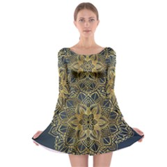 Gold Mandala Floral Ornament Ethnic Long Sleeve Skater Dress