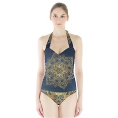 Gold Mandala Floral Ornament Ethnic Halter Swimsuit