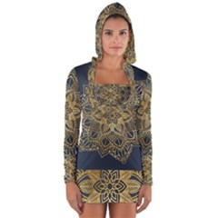 Gold Mandala Floral Ornament Ethnic Long Sleeve Hooded T Shirt