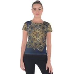 Gold Mandala Floral Ornament Ethnic Short Sleeve Sports Top