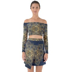 Gold Mandala Floral Ornament Ethnic Off Shoulder Top With Skirt Set
